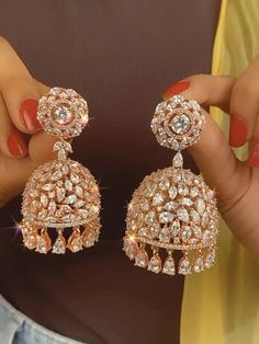 Indian Bridal Jewelry Sets, Silver Jewellery Indian, Indian Earrings, Rose Gold Jewelry, Rose Gold Earrings, Clay Jewelry, Wedding Jewelry, Diamond Earrings, Jewelry Design Earrings
