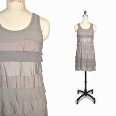 THEORY Tiered Flounce Flapper Dress in Gray Silver Sleeveless - EUC - Small  #Theory #Tiered #Cocktail