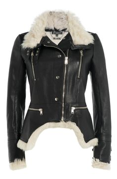 Alexander McQueen Leather Biker Jacket with Shearling detail
