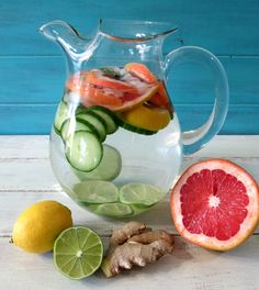 Detox Water - A refreshing pitcher of water filled with fresh fruit that will help detoxify your body.