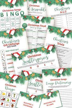 Christmas Games To Play, Printable Christmas Games, Christmas Bingo, Christmas Gift Exchange, Christmas Gifts, Holiday, Halloween Games, 4th Of July Party, Printable Designs