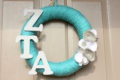 @Alyssa Beaman Zeta Tau Alpha Yarn Wreath by bnewma4 on Etsy, $23.99