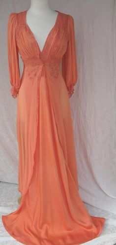 30's Coral Silk charmeuse gown and silk chiffon robe with cotton lace appliqué