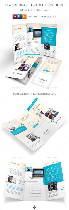 IT �20Software Trifold Brochure by Mike_pantone IT �20Software Trifold Brochure Clean and modern tri-fold brochure for your IT, software, computer, communication solutions. Featur