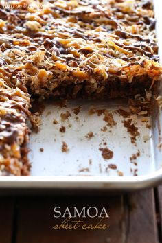 Samoa Sheet Cake | Chef in Training.  This is simply delicious.  The only change I made was to bake the cake @350 degrees for 20 minutes.  Instead of using a half sheet pan, I baked this in two quarter sheet pans.  Be sure to have the toasted coconut ready to add to the warm frosting so it will stick.  Winner!