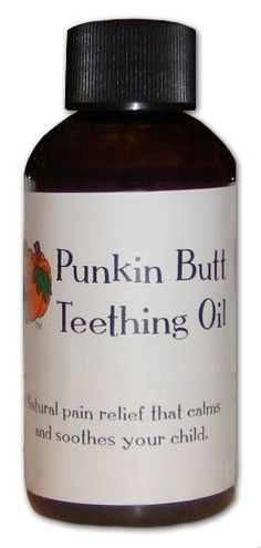 Baby's first tooth is a joy to behold, until discomfort arrives in the form of gum sensitivity, fussiness, irritability, and refusing food. Gently massaging Punkin Butt Teething Oil, made with essential oils of chamomile, clove and peppermint, on baby's gums will help banish teething pain and soothe baby (and probably the entire family). Now packaged in amber glass bottles to protect the essential oils!
