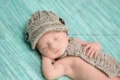 Crochet Little Mister grey newsboy brim hat and necktie for newborn baby boy photography photo prop -  MADE TO ORDER. $38.00, via Etsy.