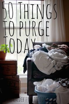 50 things to purge today. Are you wondering how to declutter? Are you asking what you should throw away for a clutter free home? Here are 50 things you can toss today!