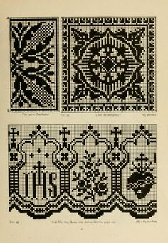 The Priscilla netting book, containing full directions for making square and circular netting, and for the various stitches with which netting is ornamented, also a great number of finished pieces in the different varieties of netting and filet brodé Filet Crochet Charts, Knitting Charts, Knitting Patterns, Blackwork Embroidery, Cross Stitch Embroidery, Cross Stitch Borders, Cross Stitch Patterns, Fillet Crochet, Graph Design