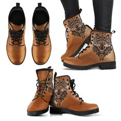 Aztec Wolf boots by Spirited Print