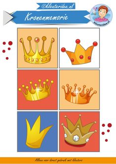 Kronenmemorie bij thema koningsdag 1, kleuteridee,  Crownmemory free printable. King Hat, I School, Speech Therapy, Holland, Clip Art, Memories, Drawings, Birthday, Creative