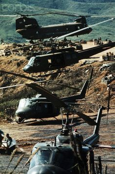 22 Mar Vietnam A twin-rotor helicopter and three single-rotor helicopters appear to be stacked atop one another during a supply airlift for support forces in Vietnam, March --- Image by © Bettmann/CORBIS Military Helicopter, Military Aircraft, Bell Helicopter, American War, American History, Vietnam War Photos, North Vietnam, War Photography, Vietnam Veterans