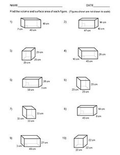 Worksheets Geometry Surface Area And Volume Worksheets prisms pyramids cylinders cones surface area worksheets math volume and of rectangular two 1 10