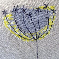 Linen flower Free style embroidery done with a sewing machine: