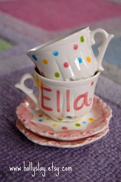 Personalized Tea Cups -- Polka Dots Personalized Child's Sized Handpainted Tea cups www.hollyslay.etsy.com