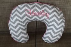 Gray and White Chevron and Minky Boppy Cover - you choose fabric and minky on Etsy, $27.00