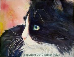 Tutorial for painting a watercolor portrait of Buttonwillow (the instructor's cat) in profile. - from:  365 Cat Ladies and Friends by Susan Faye - this looks very much like Jen's cat, Patches!
