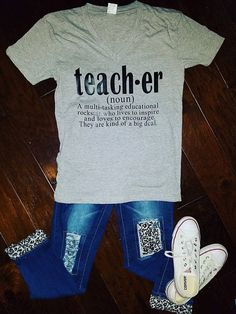 Cricut T-shirts Gray Things gray color kurta design Teacher Wear, Teacher Style, Teacher Gifts, Teaching Shirts, Teaching Outfits, Teaching Class, Teacher Wardrobe, Vinyl Shirts, Kindergarten Teachers