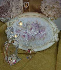 Χειροποίητος Ιταλικός ξύλινος Δίσκος με Κρυστάλλινη Μποτίλια - Ποτήρι! Punch Bowls, Our Wedding