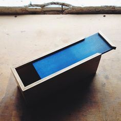 Today I made a little oak box with a blue lid.