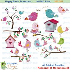Bird clipart, pink blue,  bird clip art, girl bird, swirl branch, flowers, tree,  bird house, sing,  personal & commercial, CLS-0127. $5.00, via Etsy.