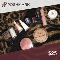 Highlights Lot of highlights! Maybelline, ELF, NYX, Trust Fund Beauty, Sonia Kashuk, Colourpop, Too Faced, Ellen Tracy. 11 in total. Can break up, just let me know! **The two NYX items are glitter brillants in blue and red (face and body glitter)** Yes, the price listed is for the whole lot! ***TOO FACED snow bunny has hit pan--still lots of product left!👍🏼👍🏼 Makeup Luminizer
