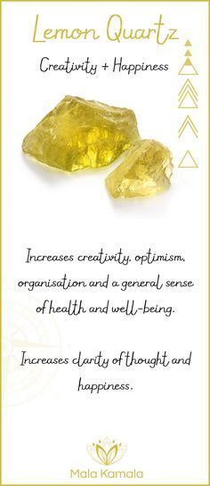 What is the meaning and crystal and chakra healing properties of lemon quartz? A stone for creativity and happiness.
