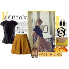 """""""Mustard Fall skirt"""" by southerncharmgurls8783 on Polyvore"""