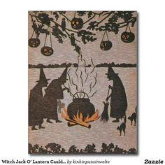 Witch Jack O' Lantern Cauldron Owl Postcard