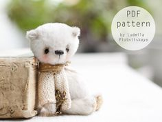 OOAK Artists Teddy Bear pattern, teddy pattern, teddy bear, soft toy pattern, miniature bear, 3.5 inches