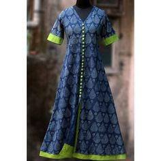 Buy Maati Crafts Blue Cotton Printed Front Cut Anarkali Kurti online in India at best price. a long kurta with indigo & white print, short sleeves and lime green steel buttons! the main fabric Salwar Designs, Kurta Designs Women, Kurti Designs Party Wear, Blouse Designs, Dress Designs, Salwar Pattern, Kurti Patterns, Dress Patterns, Saris