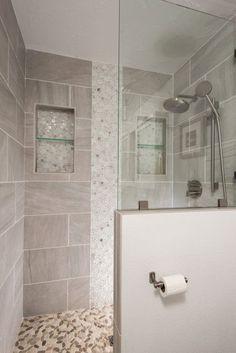 ideas large shower remodel half walls for 2019 Half Wall Shower, Master Shower, Large Shower, Walk In Shower, Master Bathroom, Rain Shower, Bathtub Shower, Shower Enclosure, Bathroom Renos