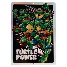 "Super sewer turtles named after Renaissance artists? Well, obviously. Add some Turtle Power punch to your favorite fun space with our Teenage Mutant Ninja Turtles embossed tin sign. We've incluced a prismatic treatment for a little extra kick.  Teenage Mutant Ninja Turtles officially licensed product Product Category: Metal Signs & Wall Art Material Description: Embossed Metal Size: 10"" W X 14"" H X 0.125"" D Weight: 0.5 LBS Turtle Names, Open Signs, Renaissance Artists, Dc Comics Superheroes, Teenage Mutant Ninja Turtles, Metal Signs, Wall Signs, Emboss, Wall Art"