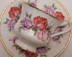 Paragon Fine Bone China Tea Cup and Saucer Pink Purple Flowers Floral Gold Trim