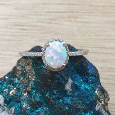 Opal Ring Sterling Silver Opal Promise Ring Travel Ring October Birthstone Jewelry Gift for Wife or GirlfriendShipped Fast FREE Gift Box
