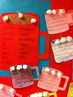 """poetry lesson. I think I have a professor that would love this! """"Juciy"""" words AND hot cocoa! Teaching Poetry, Writing Poetry, Teaching Writing, Writing Activities, Teaching Tips, Poetry Lessons, Writing Lessons, Writing Rubrics, Paragraph Writing"""