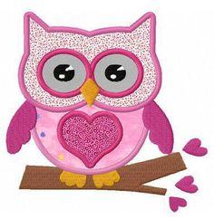 valentine heart owl applique machine embroidery designs