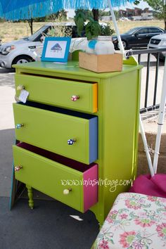 Zoey by Vava's Vintage Upcycled chest of drawers hand painted green, with fabric lined drawers
