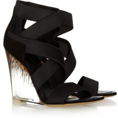 9b0ff55a0572 Donna Karan Elasticated strappy Perspex wedge sandals found on Polyvore Fab  Shoes