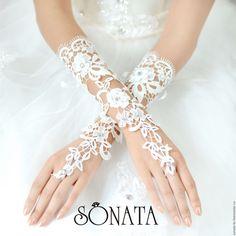 """Lace mittens / Купить Свадебные перчатки """"Vintage"""" - белый, перчатки без пальцев, митенки, митенки женские"""