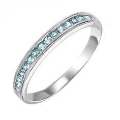 10k white gold aquamarine channel set birthstone ring