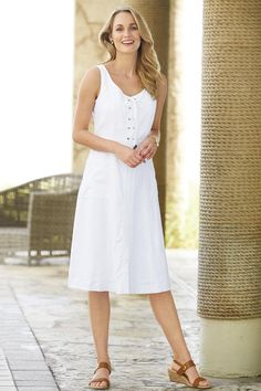 5d44def7909 White Linen Blend Sleeveless Lace-up Dress is a comfortable