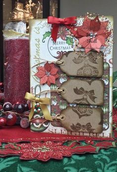 Christmas Tag Card designed by Diane Shull for Where Ideas Bloom design team using Heartfelt Creations Festive Christmas Collection papers.