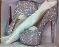Christian Louboutin sexy sparkley dream heels <3 if only I could walk in heels this tall.! Or heels in general.