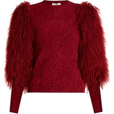 Sonia Rykiel Fur-sleeve crew-neck sweater ($1,072) ❤ liked on Polyvore featuring tops, sweaters, shirts, red shirt, textured sweater, crewneck shirts, fur sweater and textured shirt
