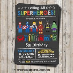 Lego superhero birthday invitation - personalized for your party - digital / printable DIY Lego inspired invitation