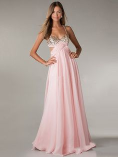 A-line/Princess Spaghetti Strap Beading Chiffon Sleeveless Prom Dresses