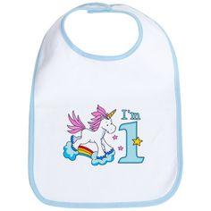 Rainbow Unicorn First Birthday Bib on CafePress.com