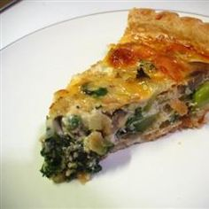 Feta Veggie Quiche - only 4 points!  I use all spinach, no broccoli.  Saute onions & 'shrooms, then toss in spinach just to slightly wilt.  Increase feta (American) to 1/2 cup and add 1/8 tsp nutmeg with seasonings.  Excellent taste & texture!