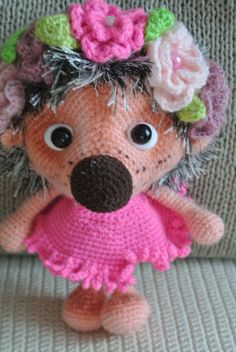 Hedgehog in pink. Toy handmade amigurumi. от VintageVilageShop